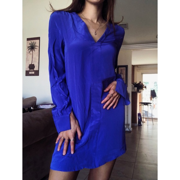 e7f8b82280a2 Rory Beca Dresses | Silk Cobalt Blue Tunic Mini Dress V Neck | Poshmark
